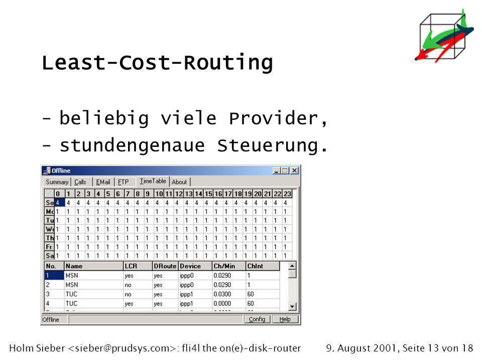 9. August 2001, Seite 13 von 18Holm Sieber : fli4l the on(e)-disk-router Least-Cost-Routing -beliebig viele Provider, -stundengenaue Steuerung.