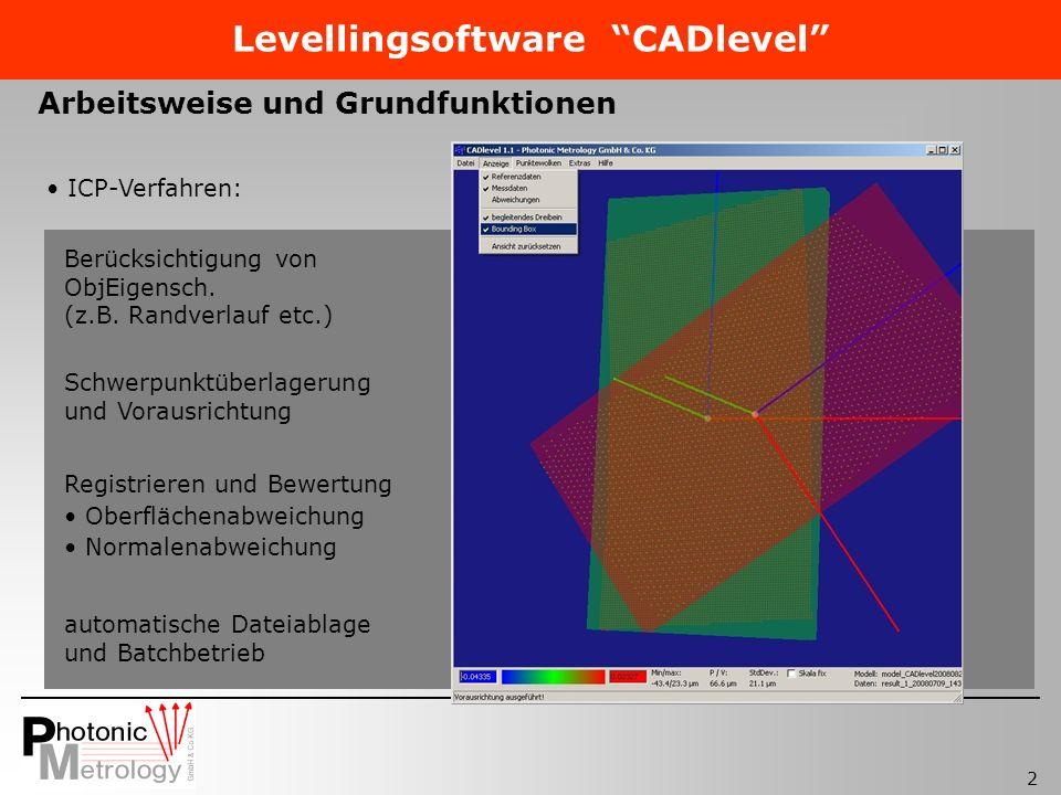2 Levellingsoftware CADlevel Arbeitsweise und Grundfunktionen ICP-Verfahren: Berücksichtigung von ObjEigensch. (z.B. Randverlauf etc.) Schwerpunktüber
