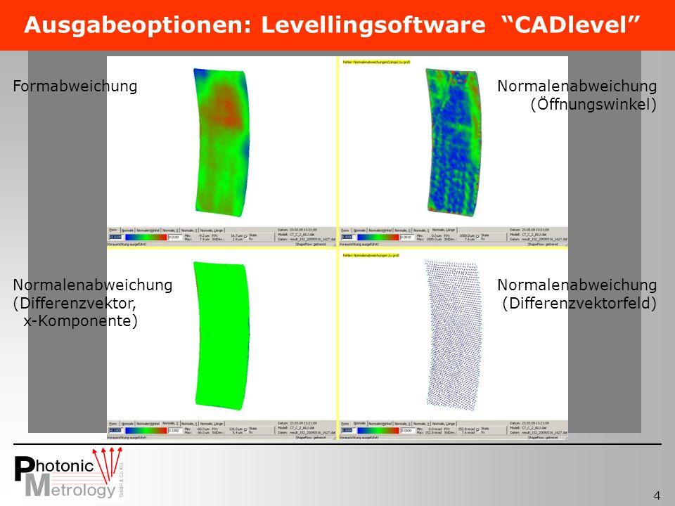4 Ausgabeoptionen: Levellingsoftware CADlevel FormabweichungNormalenabweichung (Öffnungswinkel) Normalenabweichung (Differenzvektorfeld) Normalenabweichung (Differenzvektor, x-Komponente)