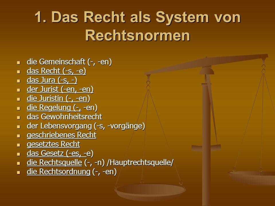 1. Das Recht als System von Rechtsnormen die Gemeinschaft (-, -en) die Gemeinschaft (-, -en) das Recht (-s, -e) das Recht (-s, -e) das Jura (-s, -) da
