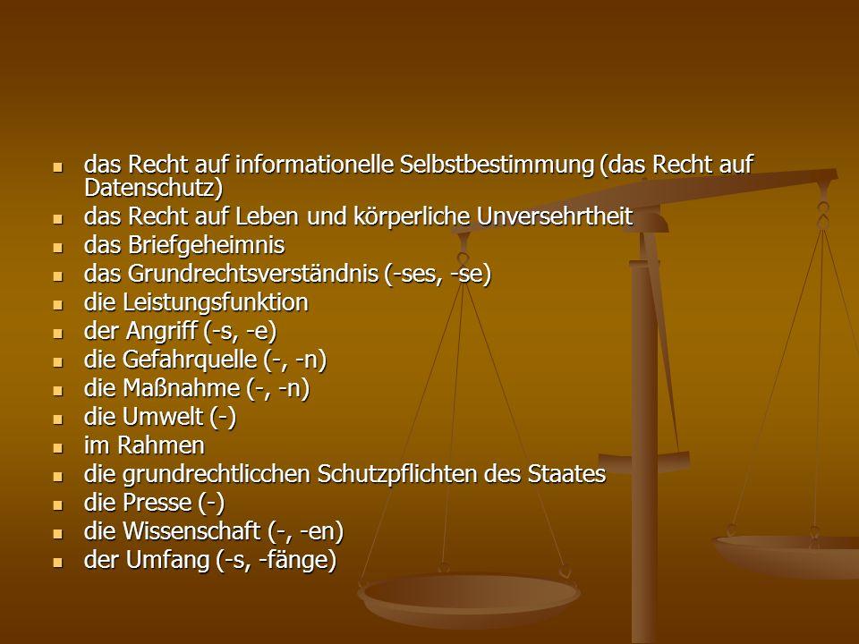 das Recht auf informationelle Selbstbestimmung (das Recht auf Datenschutz) das Recht auf informationelle Selbstbestimmung (das Recht auf Datenschutz)