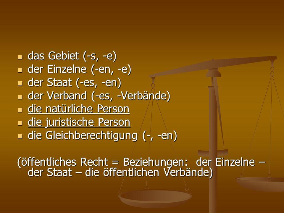 das Gebiet (-s, -e) das Gebiet (-s, -e) der Einzelne (-en, -e) der Einzelne (-en, -e) der Staat (-es, -en) der Staat (-es, -en) der Verband (-es, -Ver