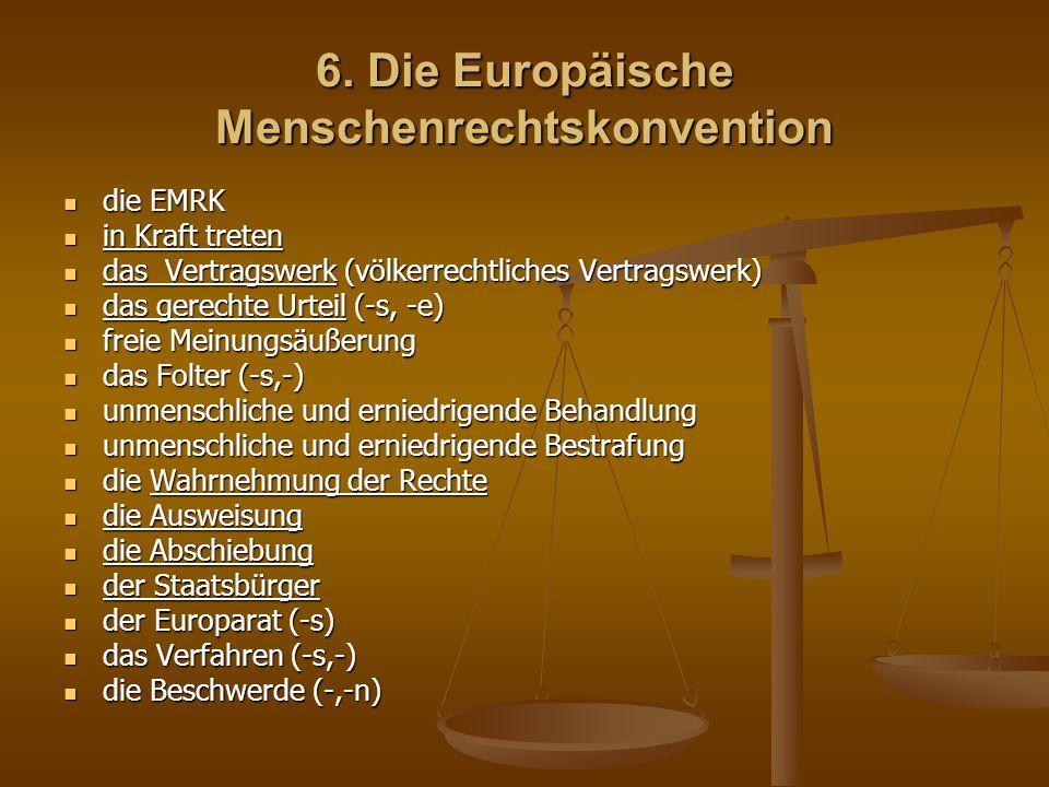 6. Die Europäische Menschenrechtskonvention die EMRK die EMRK in Kraft treten in Kraft treten das Vertragswerk (völkerrechtliches Vertragswerk) das Ve
