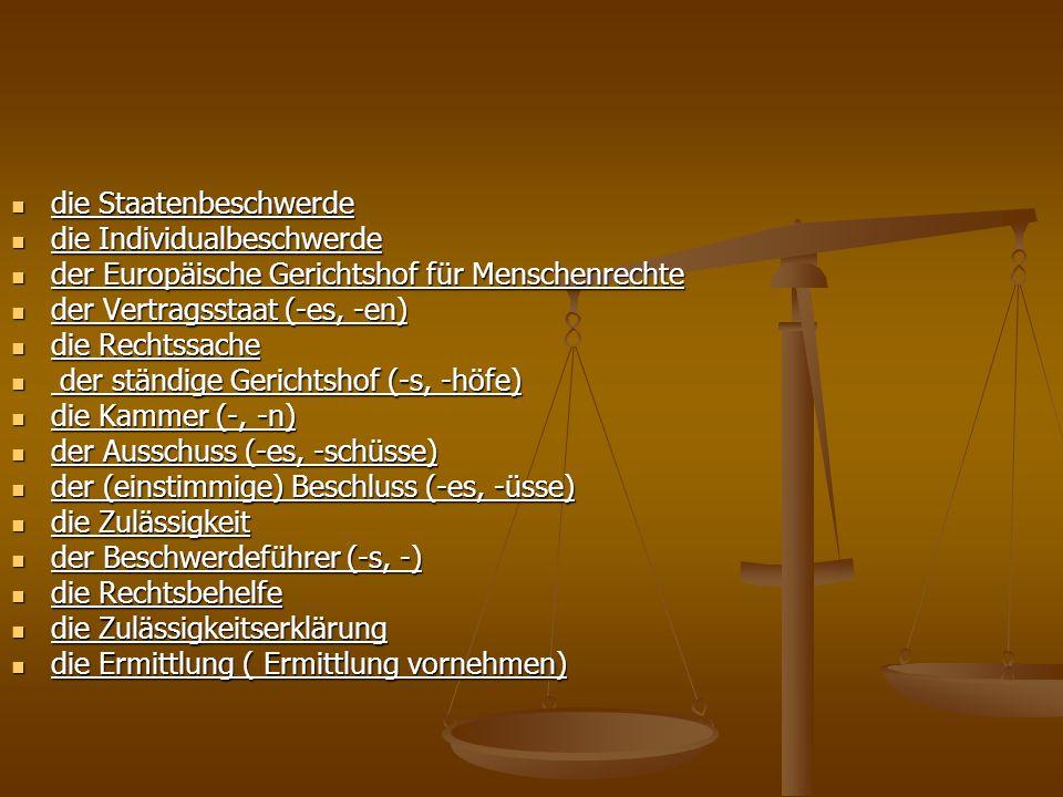 die Staatenbeschwerde die Staatenbeschwerde die Individualbeschwerde die Individualbeschwerde der Europäische Gerichtshof für Menschenrechte der Europ