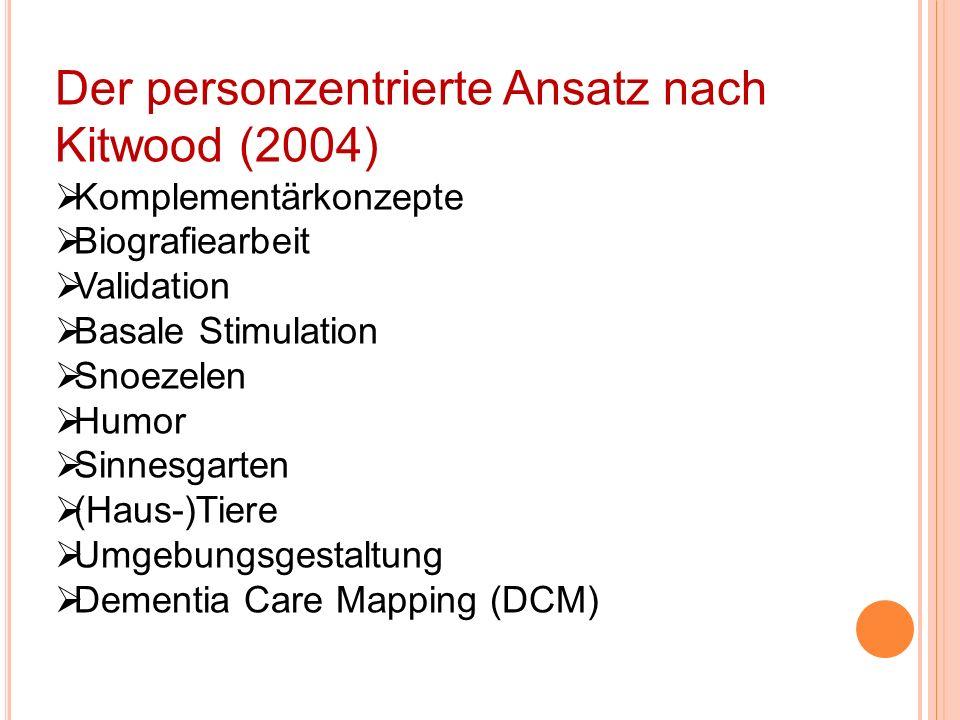 Validation, Basale, Stimulation, Snoezelen, Humor Sinnesgarten (Haus-)Tiere Umgebungsgestaltun, Dementia Care Mapping (DCM) Trost, Bindung, Verlässlichkeit Einbeziehung, Beschäftigung