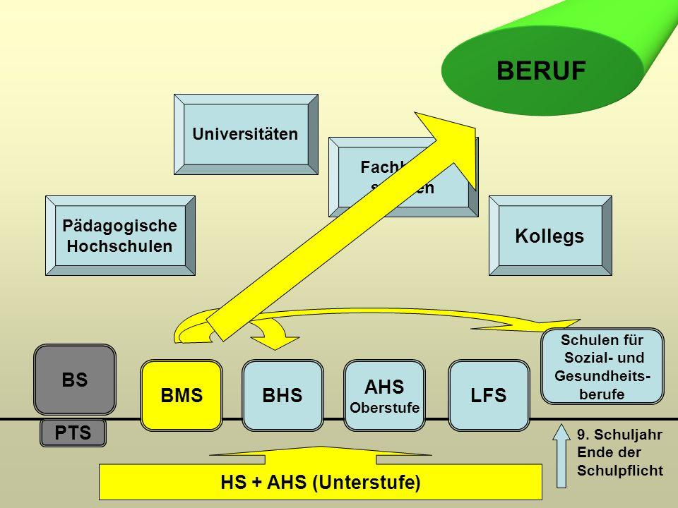 PTS BS BMSBHS AHS Oberstufe LFS Pädagogische Hochschulen Universitäten Fachhoch- schulen Kollegs HS + AHS (Unterstufe) BERUF 9. Schuljahr Ende der Sch