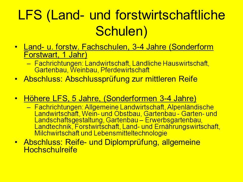 LFS (Land- und forstwirtschaftliche Schulen) Land- u. forstw. Fachschulen, 3-4 Jahre (Sonderform Forstwart, 1 Jahr) –Fachrichtungen: Landwirtschaft, L