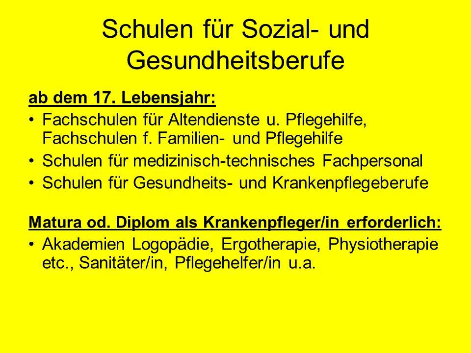 Schulen für Sozial- und Gesundheitsberufe ab dem 17.