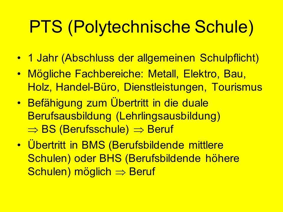 PTS (Polytechnische Schule) 1 Jahr (Abschluss der allgemeinen Schulpflicht) Mögliche Fachbereiche: Metall, Elektro, Bau, Holz, Handel-Büro, Dienstleis