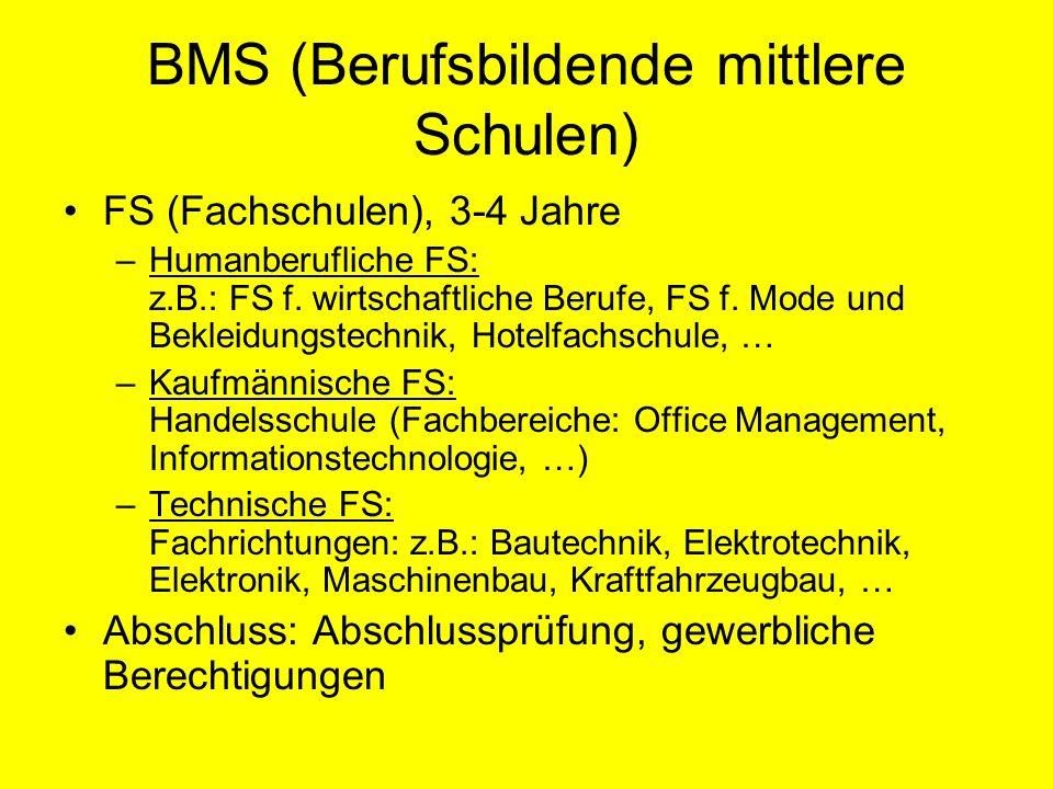 BMS (Berufsbildende mittlere Schulen) FS (Fachschulen), 3-4 Jahre –Humanberufliche FS: z.B.: FS f. wirtschaftliche Berufe, FS f. Mode und Bekleidungst