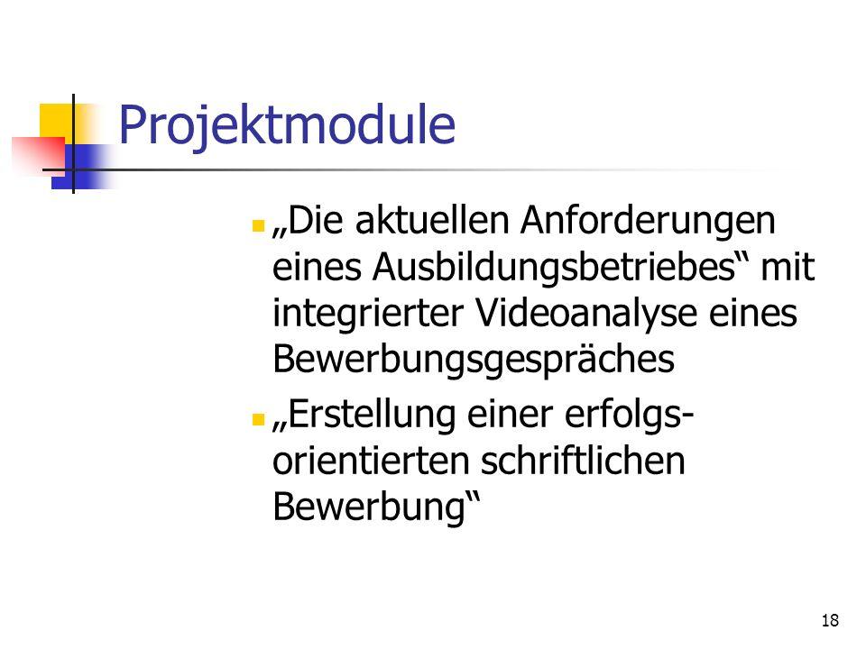 18 Projektmodule Die aktuellen Anforderungen eines Ausbildungsbetriebes mit integrierter Videoanalyse eines Bewerbungsgespräches Erstellung einer erfo