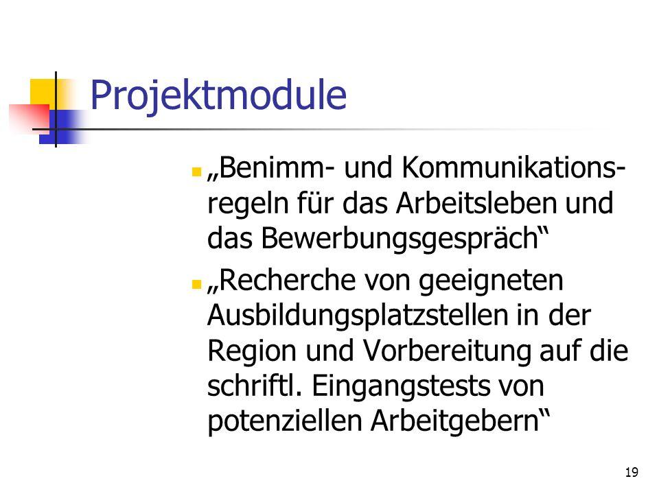 19 Projektmodule Benimm- und Kommunikations- regeln für das Arbeitsleben und das Bewerbungsgespräch Recherche von geeigneten Ausbildungsplatzstellen i