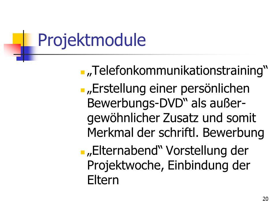 20 Projektmodule Telefonkommunikationstraining Erstellung einer persönlichen Bewerbungs-DVD als außer- gewöhnlicher Zusatz und somit Merkmal der schri