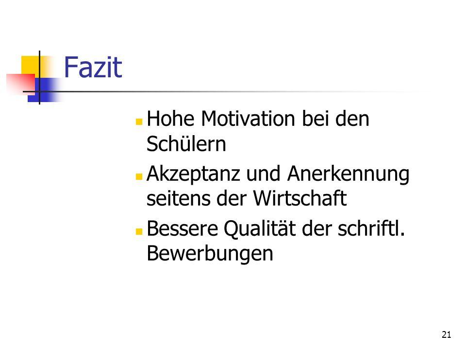 21 Fazit Hohe Motivation bei den Schülern Akzeptanz und Anerkennung seitens der Wirtschaft Bessere Qualität der schriftl. Bewerbungen