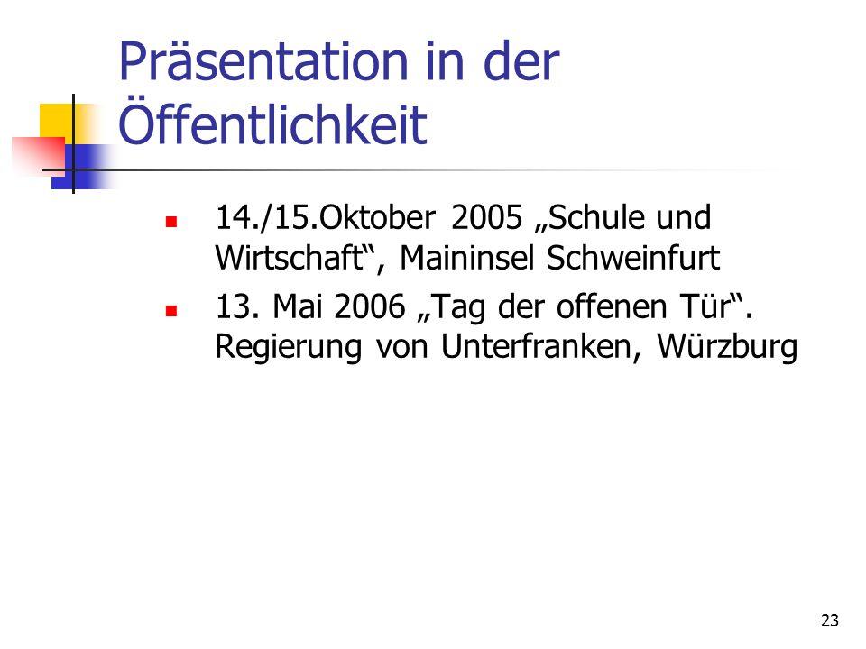 23 Präsentation in der Öffentlichkeit 14./15.Oktober 2005 Schule und Wirtschaft, Maininsel Schweinfurt 13. Mai 2006 Tag der offenen Tür. Regierung von