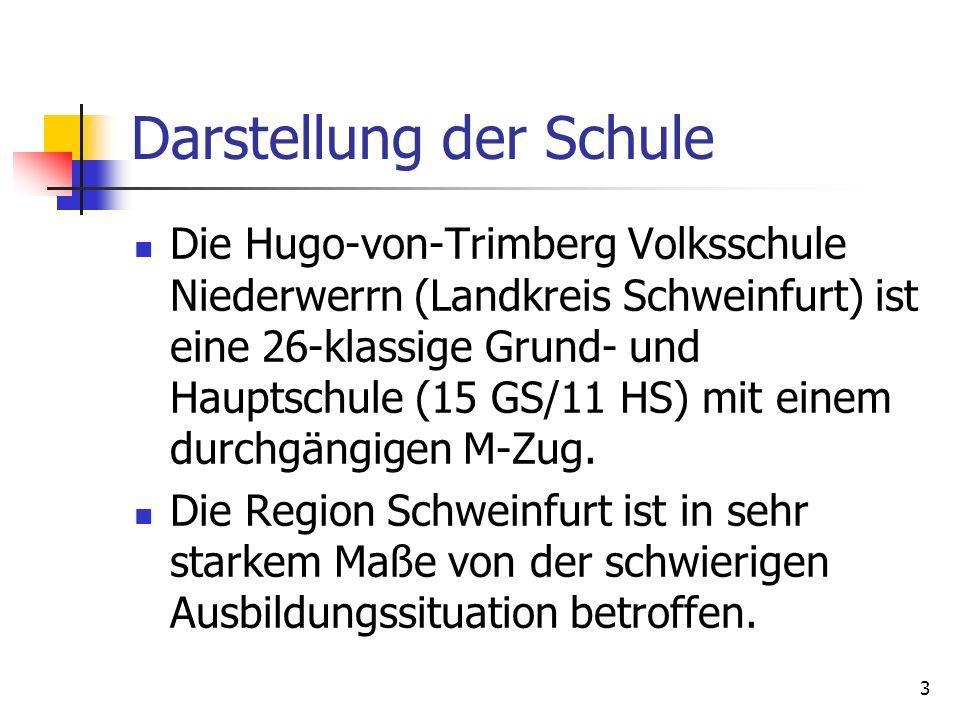 3 Darstellung der Schule Die Hugo-von-Trimberg Volksschule Niederwerrn (Landkreis Schweinfurt) ist eine 26-klassige Grund- und Hauptschule (15 GS/11 H