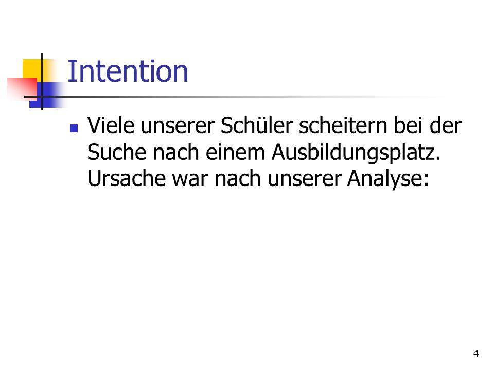 4 Intention Viele unserer Schüler scheitern bei der Suche nach einem Ausbildungsplatz. Ursache war nach unserer Analyse: