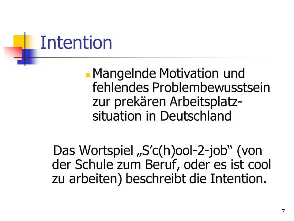 7 Intention Mangelnde Motivation und fehlendes Problembewusstsein zur prekären Arbeitsplatz- situation in Deutschland Das Wortspiel Sc(h)ool-2-job (vo