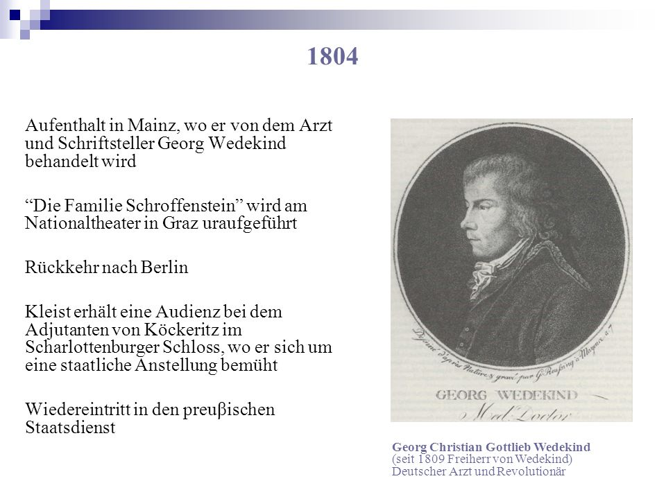 1804 Aufenthalt in Mainz, wo er von dem Arzt und Schriftsteller Georg Wedekind behandelt wird Die Familie Schroffenstein wird am Nationaltheater in Gr