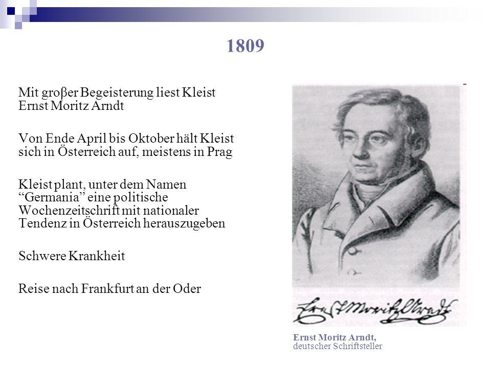 1809 Mit groβer Begeisterung liest Kleist Ernst Moritz Arndt Von Ende April bis Oktober hält Kleist sich in Österreich auf, meistens in Prag Kleist pl