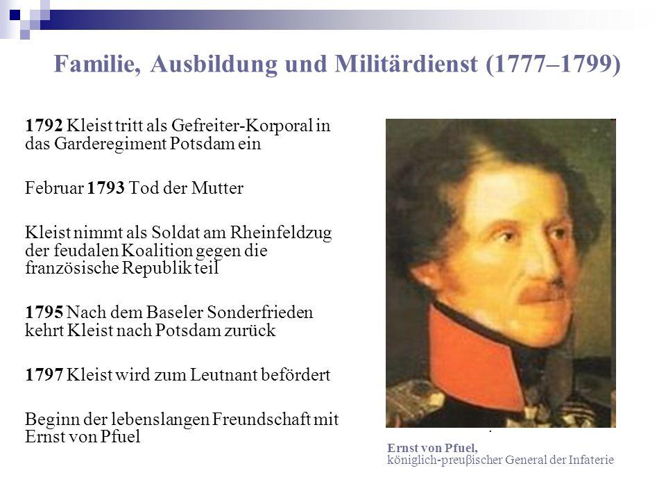 Familie, Ausbildung und Militärdienst (1777–1799) 1792 Kleist tritt als Gefreiter-Korporal in das Garderegiment Potsdam ein Februar 1793 Tod der Mutte