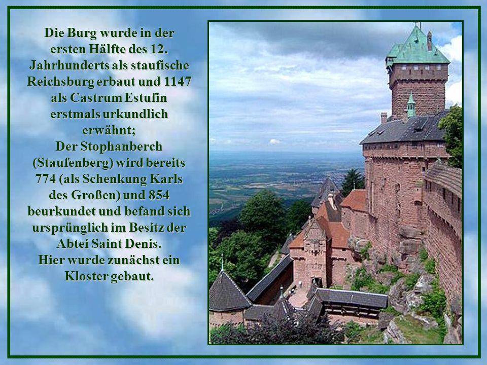 Die Haut-Koenigsbourg (Hohkönigsburg) thront auf einem 755 Meter hohen Vorberg der Vogesen, etwa 85 Kilometer nördlich von Basel. Bei klarer Sicht sch