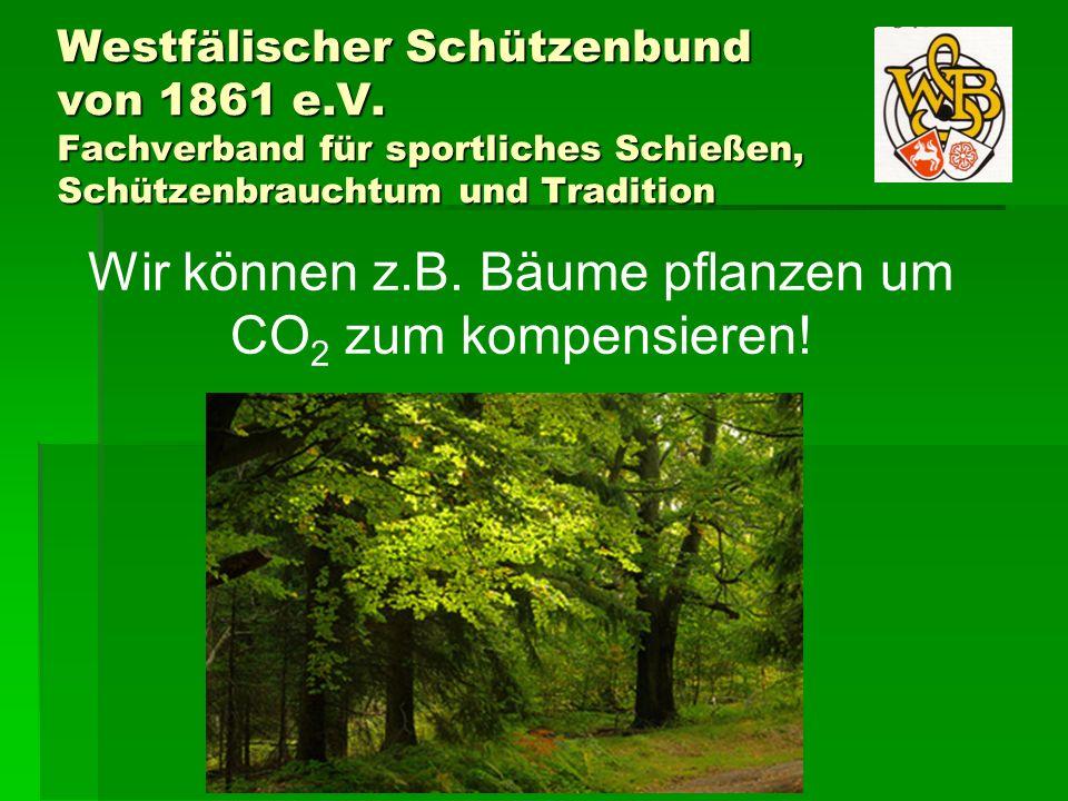 Westfälischer Schützenbund von 1861 e.V. Fachverband für sportliches Schießen, Schützenbrauchtum und Tradition Wir können z.B. Bäume pflanzen um CO 2