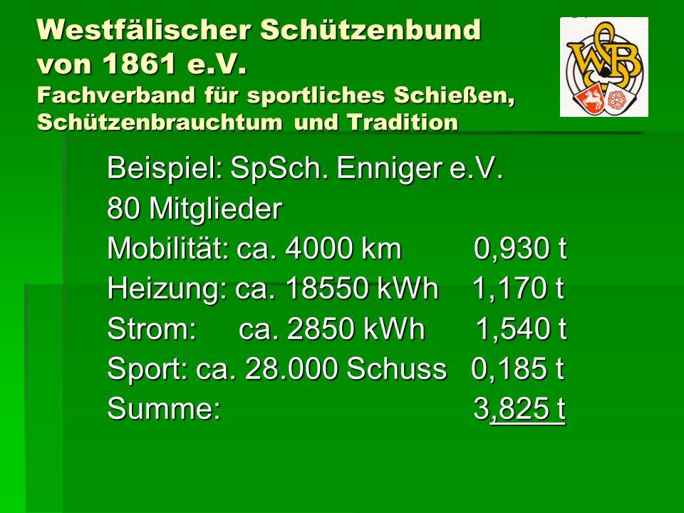 Westfälischer Schützenbund von 1861 e.V. Fachverband für sportliches Schießen, Schützenbrauchtum und Tradition Beispiel: SpSch. Enniger e.V. 80 Mitgli