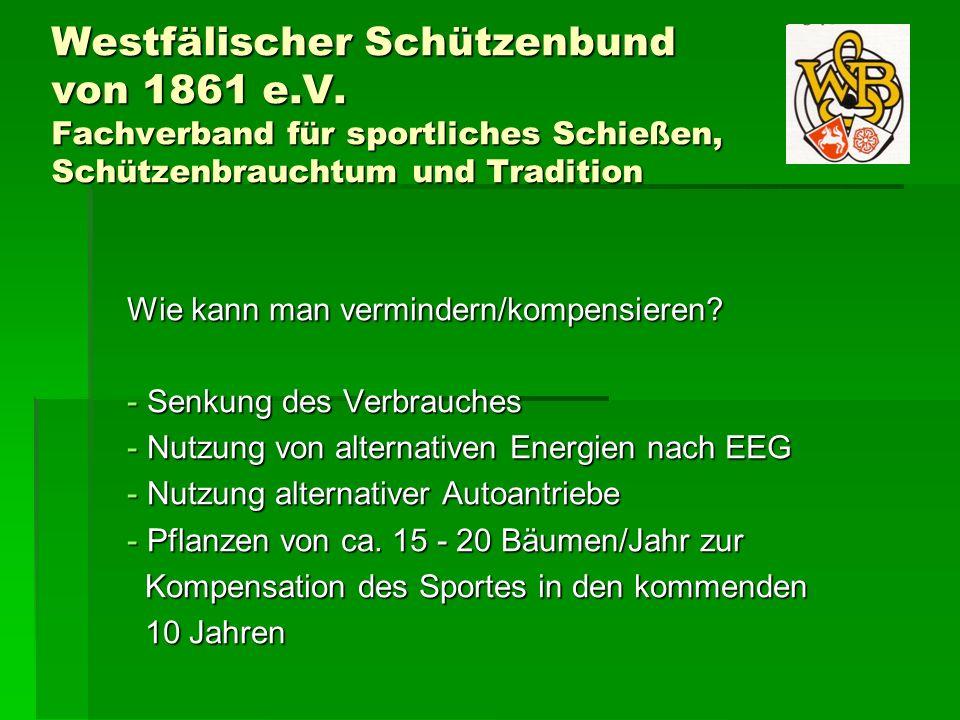 Westfälischer Schützenbund von 1861 e.V. Fachverband für sportliches Schießen, Schützenbrauchtum und Tradition Wie kann man vermindern/kompensieren? -