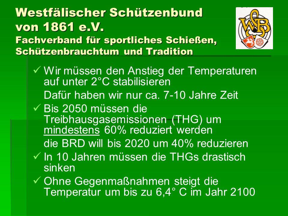 Westfälischer Schützenbund von 1861 e.V. Fachverband für sportliches Schießen, Schützenbrauchtum und Tradition Wir müssen den Anstieg der Temperaturen