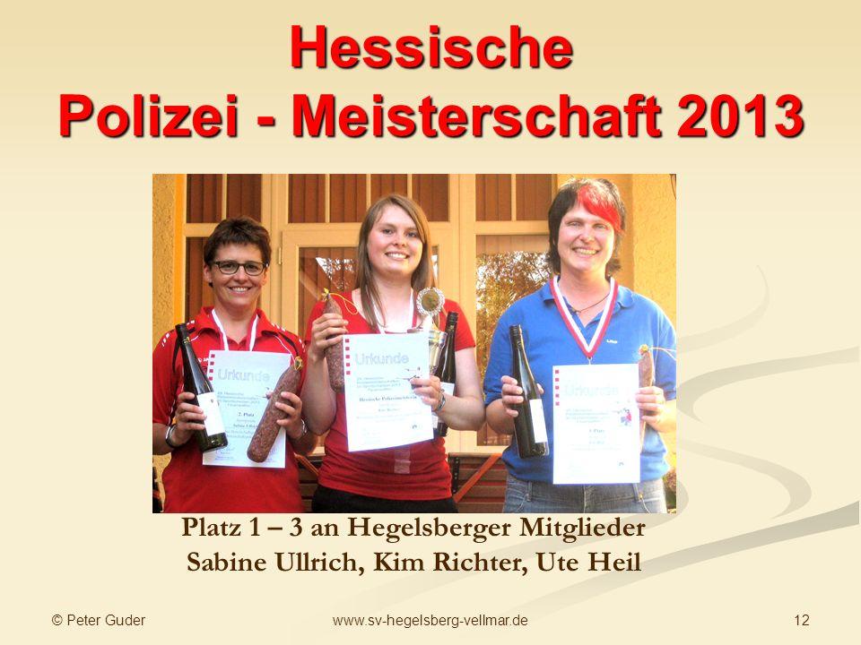 © Peter Guder 12www.sv-hegelsberg-vellmar.de Hessische Polizei - Meisterschaft 2013 Kim Richter: Meisterin Sportpistole Sabine Ullrich Vize Meisterin