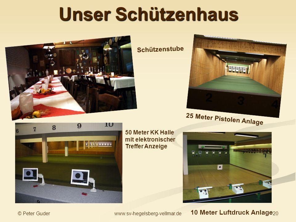 © Peter Guder 20www.sv-hegelsberg-vellmar.de Unser Schützenhaus 25 Meter Pistolen Anlage 10 Meter Luftdruck Anlage Schützenstube 50 Meter KK Halle mit