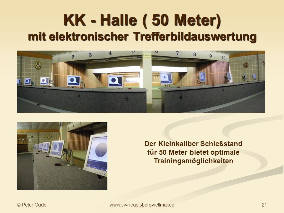 © Peter Guder 21www.sv-hegelsberg-vellmar.de KK - Halle ( 50 Meter) mit elektronischer Trefferbildauswertung Der Kleinkaliber Schießstand für 50 Meter bietet optimale Trainingsmöglichkeiten