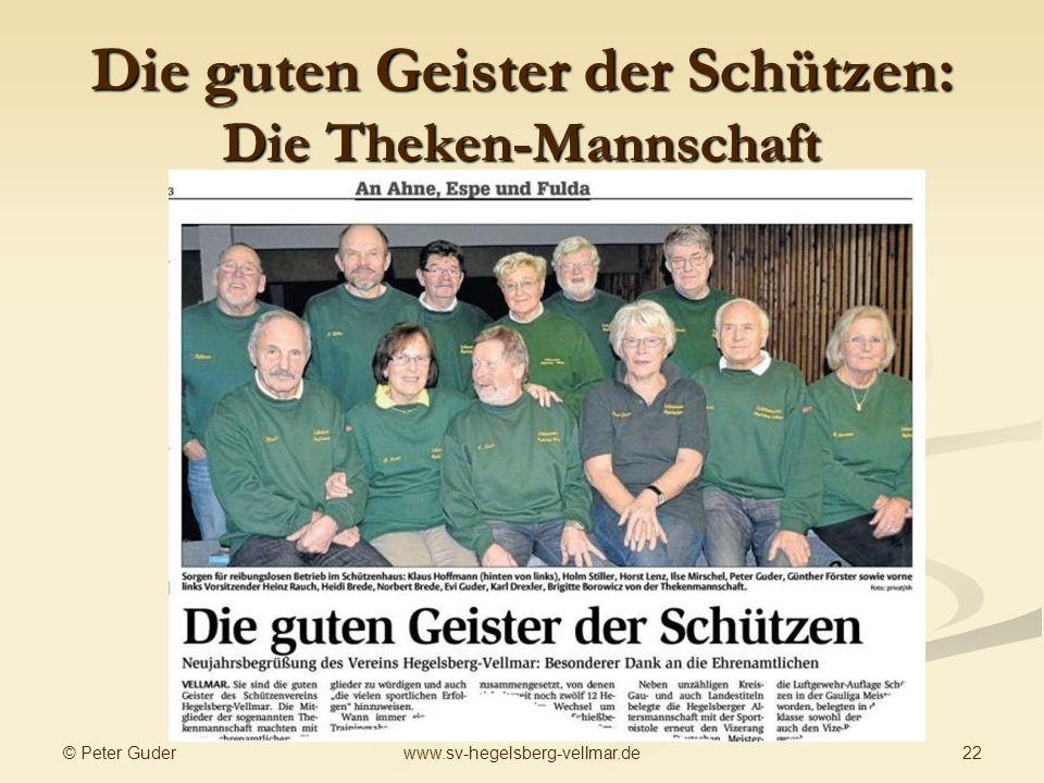 © Peter Guder 22www.sv-hegelsberg-vellmar.de Die guten Geister der Schützen: Die Theken-Mannschaft