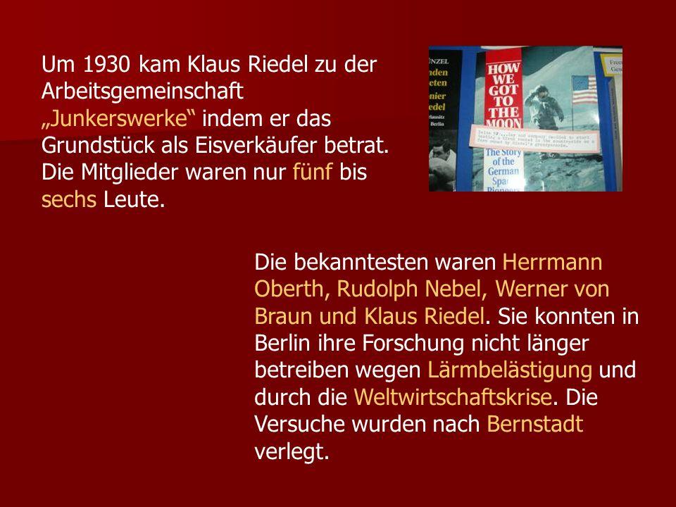 Um 1930 kam Klaus Riedel zu der Arbeitsgemeinschaft Junkerswerke indem er das Grundstück als Eisverkäufer betrat.
