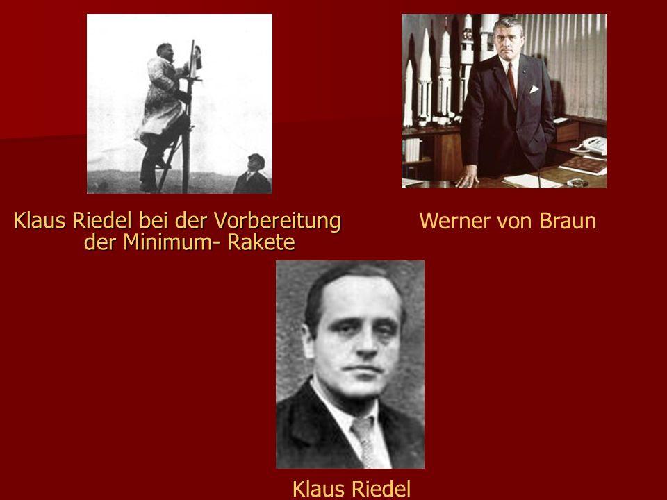 Klaus Riedel bei der Vorbereitung der Minimum- Rakete Werner von Braun Klaus Riedel