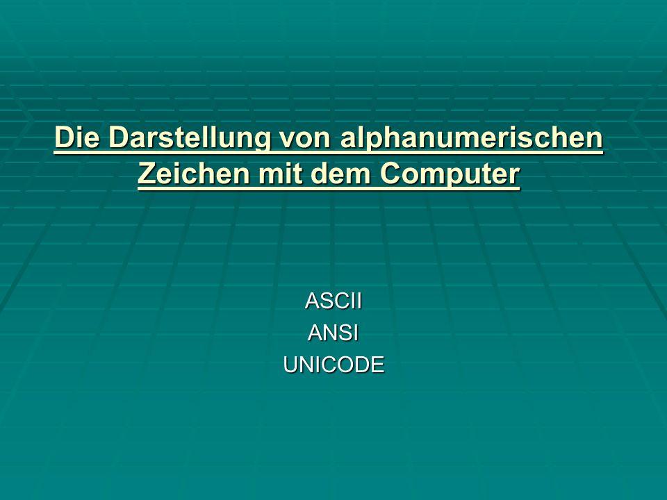 ASCII und das warum Code = eine eindeutige Vorschrift zur Abbildung eines Zeichenvorrats in einem anderen Zeichenvorrat.