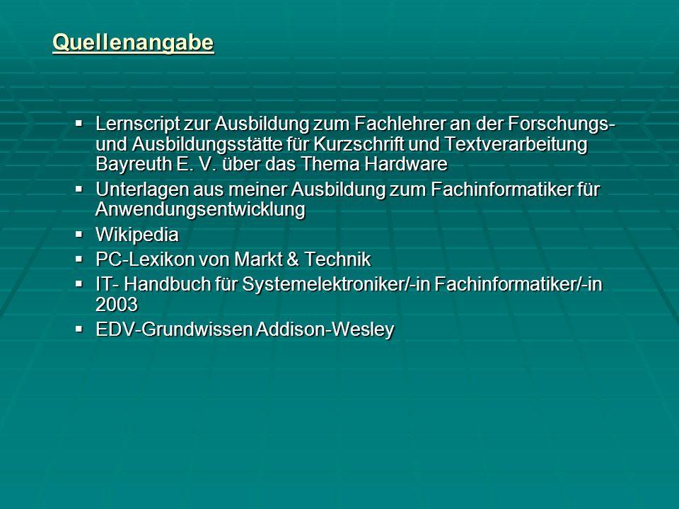 Quellenangabe Lernscript zur Ausbildung zum Fachlehrer an der Forschungs- und Ausbildungsstätte für Kurzschrift und Textverarbeitung Bayreuth E.