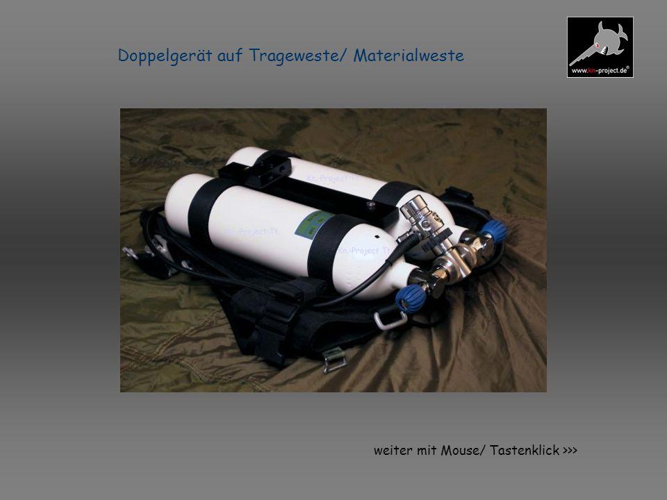 Technische Daten Brusteinheit mit OptionNitrox-Plus *Funktionsprinzip : halbgeschlossen SCR (Gasdosierung Konstantfluß) oder geschlossen (CCR) mit 100% Sauerstoff und gesonderter Inertgas- Zuführung *Abmessungen Hauptgerät (hier LAR VII.) : ca.580 * 360 * 190 mm (Packmaß) *Abmessungen Nitrox-Plus 2*4 ltr.: ca.