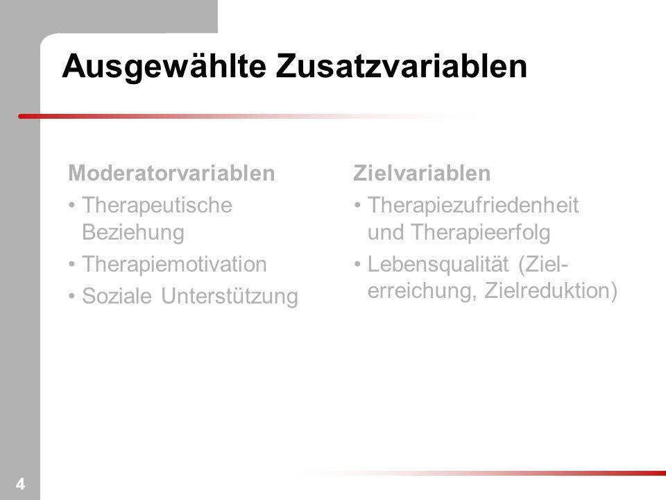 4 Ausgewählte Zusatzvariablen Moderatorvariablen Therapeutische Beziehung Therapiemotivation Soziale Unterstützung Zielvariablen Therapiezufriedenheit