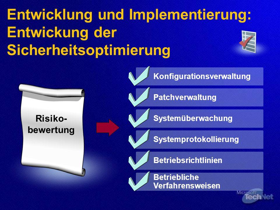 Entwicklung und Implementierung: Entwickung der Sicherheitsoptimierung Risiko- bewertung Konfigurationsverwaltung Patchverwaltung Systemüberwachung Systemprotokollierung Betriebsrichtlinien Betriebliche Verfahrensweisen