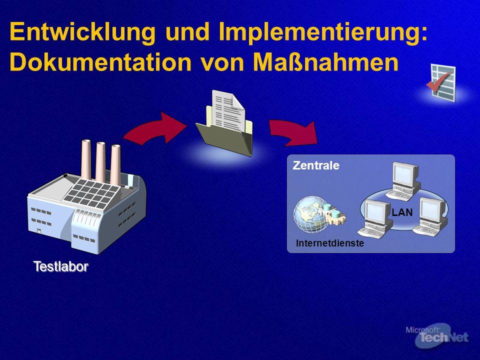 Entwicklung und Implementierung: Dokumentation von Maßnahmen Testlabor Zentrale Internetdienste LAN