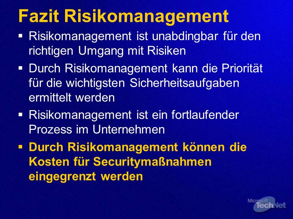 Fazit Risikomanagement Risikomanagement ist unabdingbar für den richtigen Umgang mit Risiken Durch Risikomanagement kann die Priorität für die wichtigsten Sicherheitsaufgaben ermittelt werden Risikomanagement ist ein fortlaufender Prozess im Unternehmen Durch Risikomanagement können die Kosten für Securitymaßnahmen eingegrenzt werden