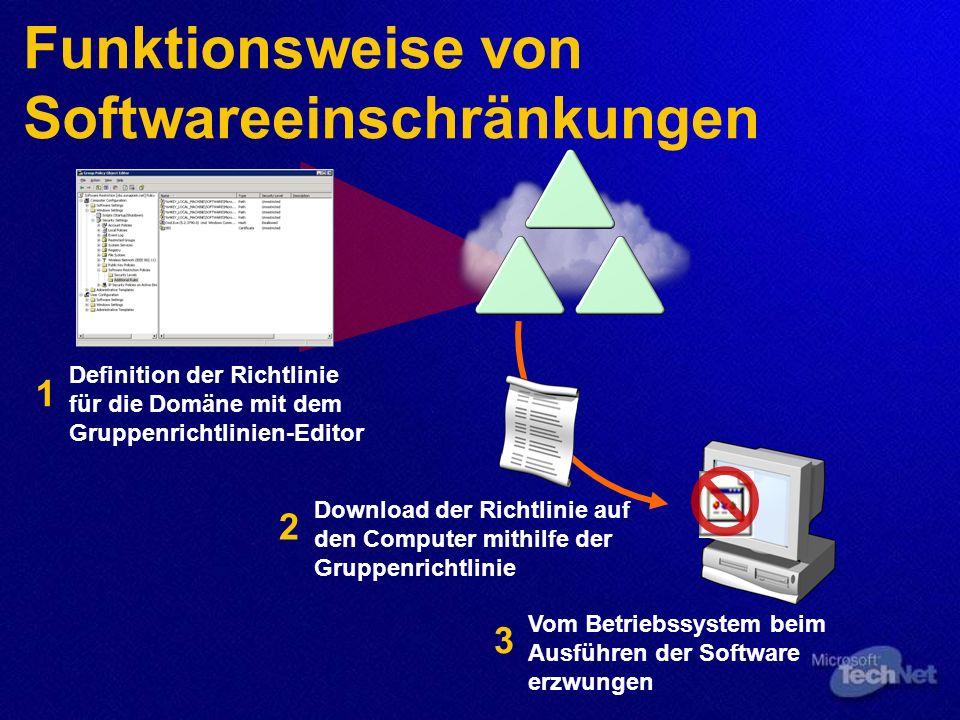 Definition der Richtlinie für die Domäne mit dem Gruppenrichtlinien-Editor 1 Funktionsweise von Softwareeinschränkungen Download der Richtlinie auf den Computer mithilfe der Gruppenrichtlinie 2 Vom Betriebssystem beim Ausführen der Software erzwungen 3