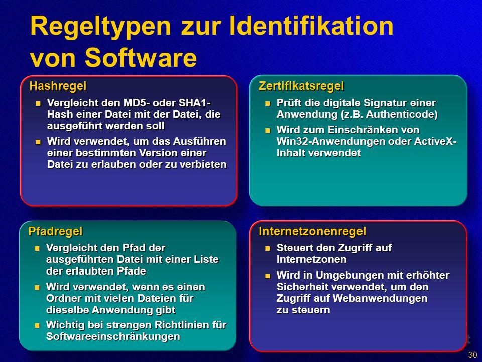Regeltypen zur Identifikation von Software Pfadregel Vergleicht den Pfad der ausgeführten Datei mit einer Liste der erlaubten Pfade Vergleicht den Pfad der ausgeführten Datei mit einer Liste der erlaubten Pfade Wird verwendet, wenn es einen Ordner mit vielen Dateien für dieselbe Anwendung gibt Wird verwendet, wenn es einen Ordner mit vielen Dateien für dieselbe Anwendung gibt Wichtig bei strengen Richtlinien für Softwareeinschränkungen Wichtig bei strengen Richtlinien für Softwareeinschränkungen Hashregel Vergleicht den MD5- oder SHA1- Hash einer Datei mit der Datei, die ausgeführt werden soll Vergleicht den MD5- oder SHA1- Hash einer Datei mit der Datei, die ausgeführt werden soll Wird verwendet, um das Ausführen einer bestimmten Version einer Datei zu erlauben oder zu verbieten Wird verwendet, um das Ausführen einer bestimmten Version einer Datei zu erlauben oder zu verbieten Zertifikatsregel Prüft die digitale Signatur einer Anwendung (z.B.