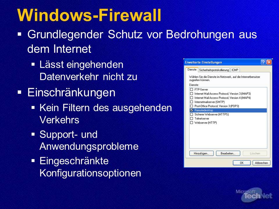 Windows-Firewall Grundlegender Schutz vor Bedrohungen aus dem Internet Lässt eingehenden Datenverkehr nicht zu Einschränkungen Kein Filtern des ausgehenden Verkehrs Support- und Anwendungsprobleme Eingeschränkte Konfigurationsoptionen