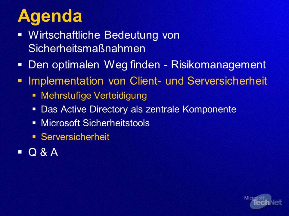 Agenda Wirtschaftliche Bedeutung von Sicherheitsmaßnahmen Den optimalen Weg finden - Risikomanagement Implementation von Client- und Serversicherheit Mehrstufige Verteidigung Das Active Directory als zentrale Komponente Microsoft Sicherheitstools Serversicherheit Q & A