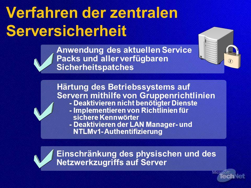 Verfahren der zentralen Serversicherheit Anwendung des aktuellen Service Packs und aller verfügbaren Sicherheitspatches Härtung des Betriebssystems auf Servern mithilfe von Gruppenrichtlinien - Deaktivieren nicht benötigter Dienste - Implementieren von Richtlinien für sichere Kennwörter - Deaktivieren der LAN Manager- und NTLMv1- Authentifizierung Einschränkung des physischen und des Netzwerkzugriffs auf Server