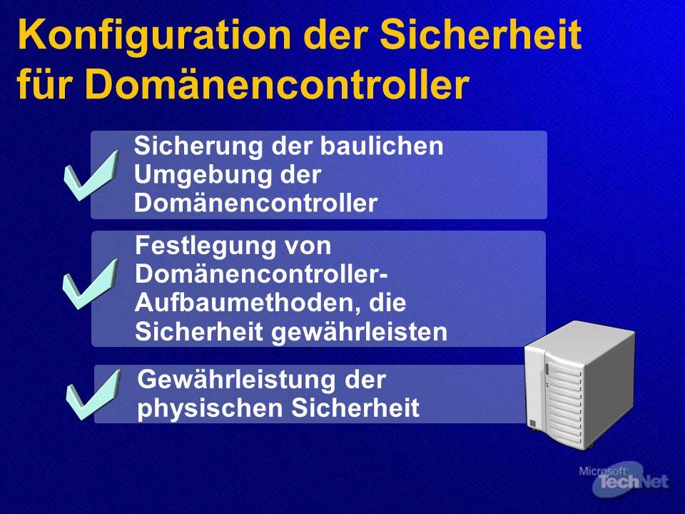 Konfiguration der Sicherheit für Domänencontroller Sicherung der baulichen Umgebung der Domänencontroller Festlegung von Domänencontroller- Aufbaumethoden, die Sicherheit gewährleisten Gewährleistung der physischen Sicherheit