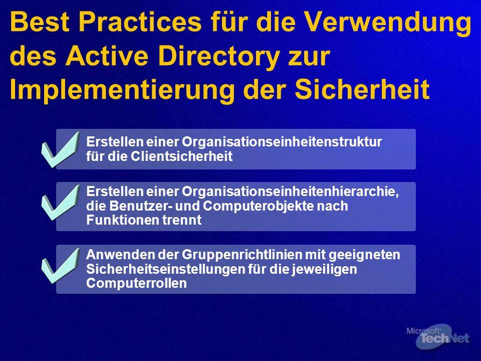 Best Practices für die Verwendung des Active Directory zur Implementierung der Sicherheit Erstellen einer Organisationseinheitenstruktur für die Clientsicherheit Erstellen einer Organisationseinheitenhierarchie, die Benutzer- und Computerobjekte nach Funktionen trennt Anwenden der Gruppenrichtlinien mit geeigneten Sicherheitseinstellungen für die jeweiligen Computerrollen